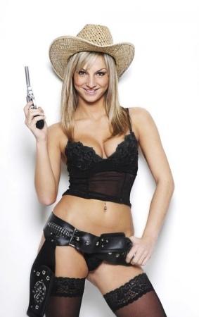 Striptänzerin als Cowgirl